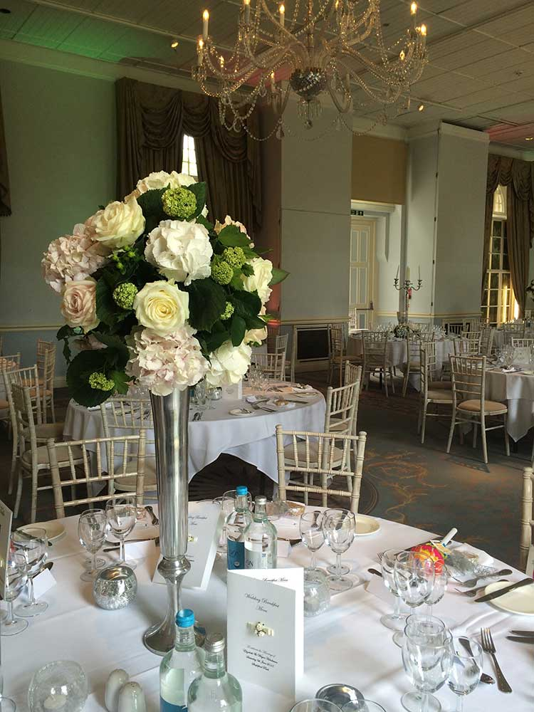 Reception flowers - tall in vase - white